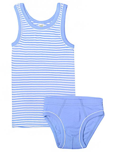 """Комплект для мальчика майка + трусы """"Полоска, васильково-синий"""" размер/рост : 48-52/74-80"""