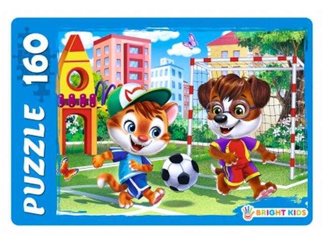 """Пазлы 160 элементов 340х240 Рыжий кот """"Bright kids. Котенок и щенок на футболе"""""""