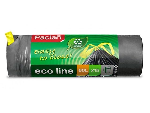 """Мешок для мусора 60 л. 15 шт. """"Paclan. Eco line"""" с тесьмой, 25 мкм"""
