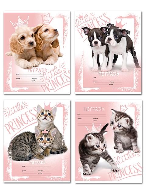"""Тетрадь А5 12 листов, клетка БиДжи """"Kitty & Puppy"""" на скрепке"""