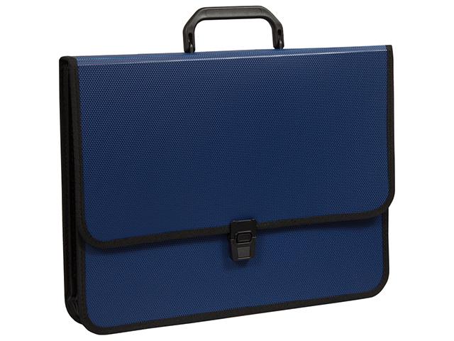 Портфель пластиковый А4 2 отделения Office Space 370х280х120мм, на замке, синий