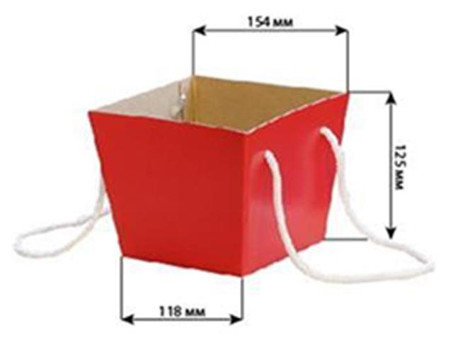 Коробка для цветов Яркий Мир, 118х154х125 мм, красный