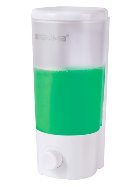 Диспенсер для жидкого мыла ЛАЙМА, наливной, 0,38 л, ABS, белый (матовый), 603922