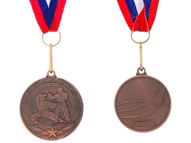 """Медаль тематическая """"Карате"""" 190 (4 см), металлическая, на ленте, бронза"""