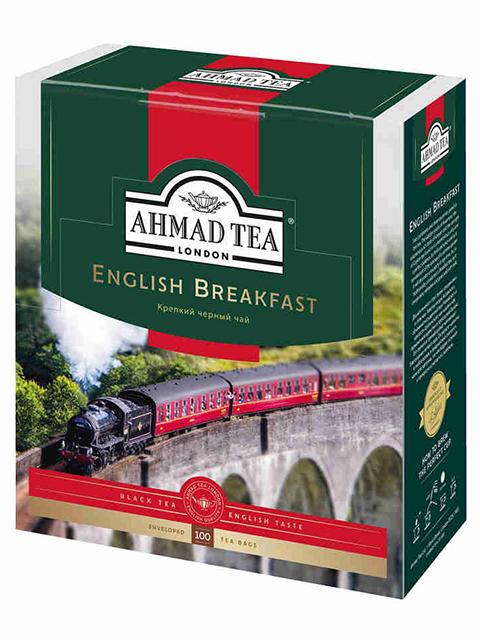 """Чай Ahmad """"English Breakfast"""", черный, 100 пакетиков с ярлыками по 2 гр."""