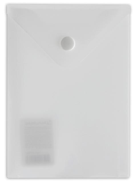 Папка-конверт с кнопкой BRAUBERG, А6, 105х148 мм, 180 мкм, прозрачная, 227321