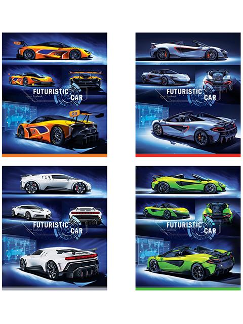 """Тетрадь А5 48 листов в клетку ArTSpace """"Авто. Futuristic car"""" на скрепке"""