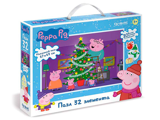 "Пазлы 32 элемента Оригами ""Свинка Пеппа"" 67х49см с наклейками"