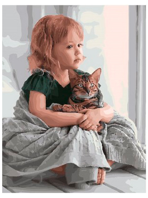 """Картина по номерам PaintBoy """"В обнимку с котом"""" 40*50см"""