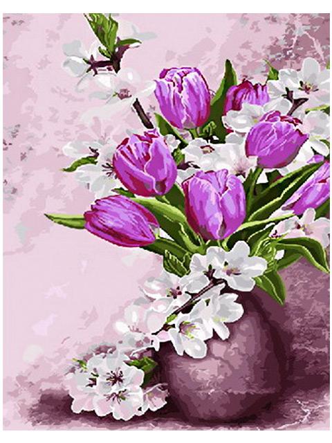 """Картина по номерам """"PaintBoy. Весенние цветы"""" 40*50см"""