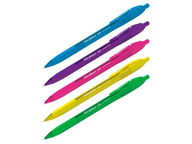 """Ручка шариковая автоматическая Berlingo """"Triangle 110 RT Color"""" 0,7 мм, корпус пластиковый трехгранный, синяя"""