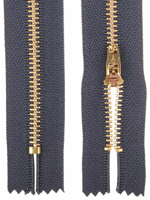 Молния металлическая джинсовая неразьемная, однозамковая 18см №318 темно-синий