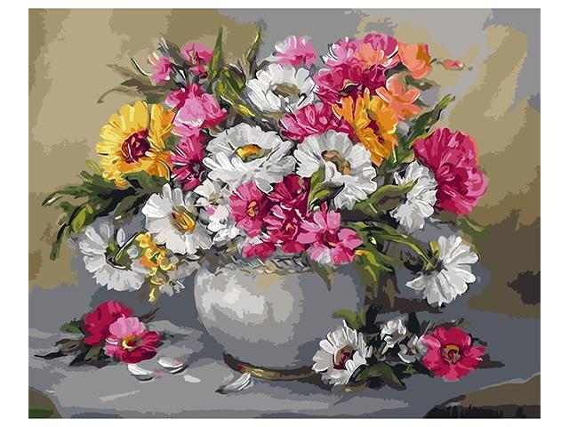"""Алмазная мозаика 5D """"Цветы в вазе"""" 40х50 см, без подрамника в рулоне"""