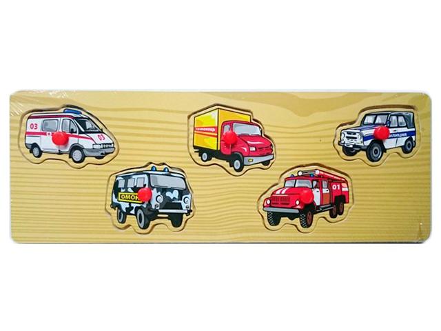 """Пазлы деревянные Рыжий кот """"Мини. Нужный транспорт"""" 29,5х10,5 см"""
