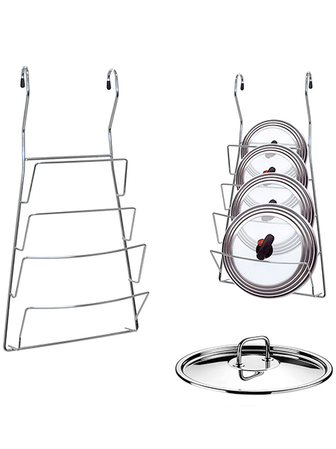 Подставка для крышек навесная на рейлинг 20х37см