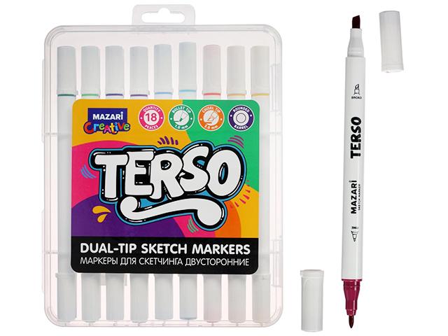 "Набор маркеров для скетчинга Mazari ""TERSO"", 1-4 мм, двусторонние, 18 цветов"