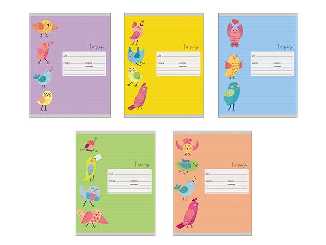 """Тетрадь А5 18 листов, линия Unnika """"Птички"""" (однотонная) обложка мелованный картон"""