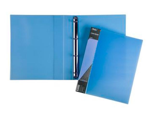 "Папка А4 4 кольца Хатбер ""Diamond"" 40 мм, полупрозрачная синяя"