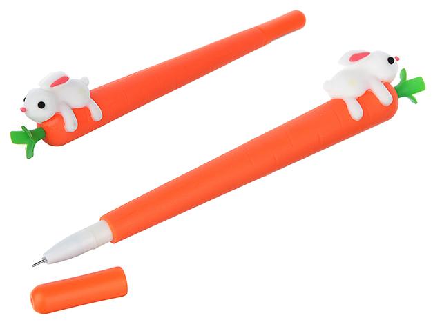 """Ручка шариковая """"Морковка с зайчиком"""" 0,5 мм, прорезиненный корпус, синяя"""
