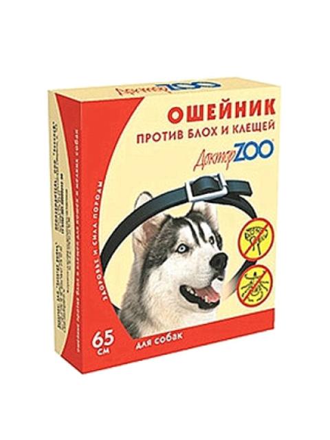 Доктор ZOO БИОошейник для собак от блох и клещей 65 см, красный