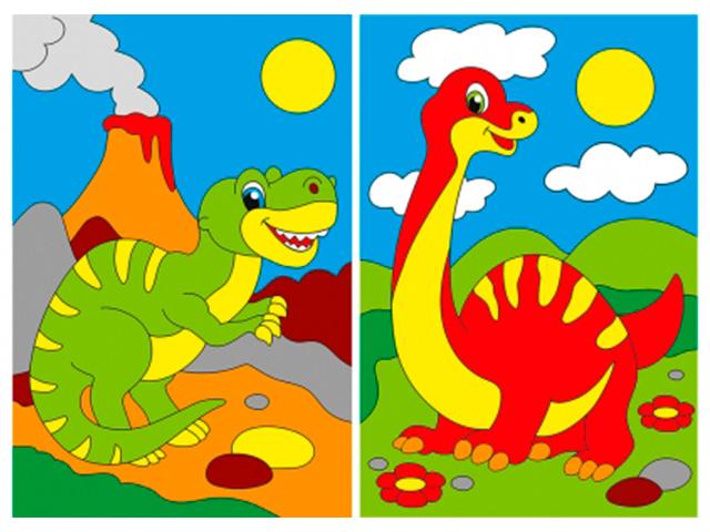 """Набор для детского творчества """"Холст с красками (мини). Веселые динозавры"""" 10х15 см"""