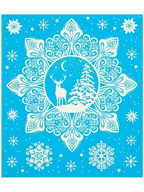 """Новогоднее украшение """"Снежный лес"""" 15х17 см, оконное, с раскраской, ПВХ пленка"""