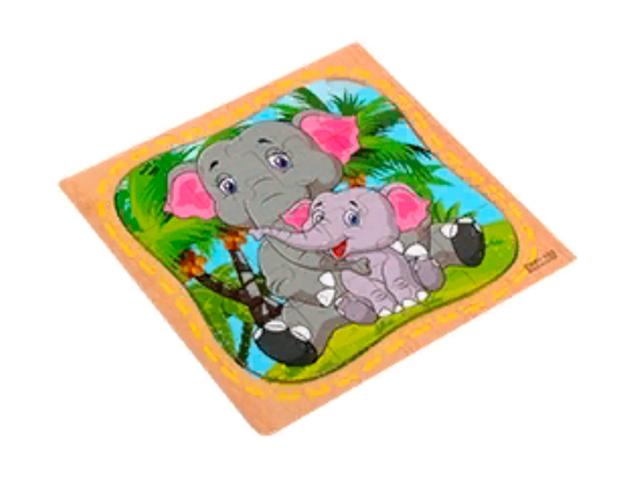 """Пазл- рамка для малышей """"Слоники"""", 16 элементов. 15х15 см"""