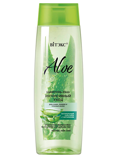 """Шампунь-Elixir Витэкс """"Aloe. Интенсивный уход"""" для сухих, ломких и тусклях волос 400мл"""