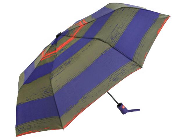 """Зонт женский полуавтомат """"Полосы"""" r=48см, 8 спиц, фиолетово-коричневый"""