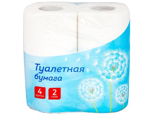 Бумага туалетная Office Clean 2-х слойн 4шт, тиснение, белая