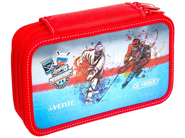 """Пенал 3 отделения deVENTE """"Ice Hockey"""" 205х120 мм, на молнии"""