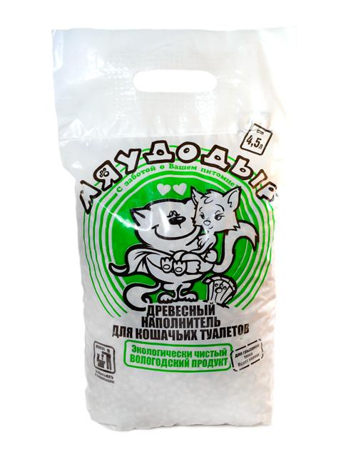 """Наполнитель для кошачьих туалетов """"Мяудодыр"""" древесный, зеленый пакет 4,5 л."""