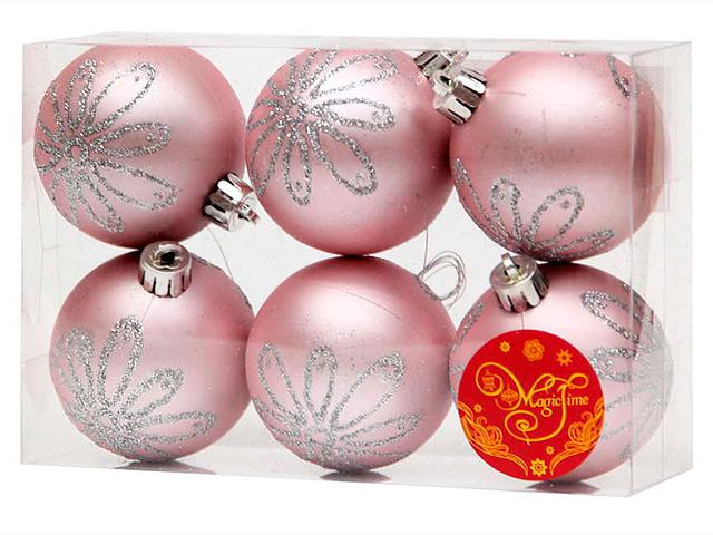 Набор елочных шаров MagicTime, 6 см, 6 шт, розовые с серебряной ромашкой, пластик