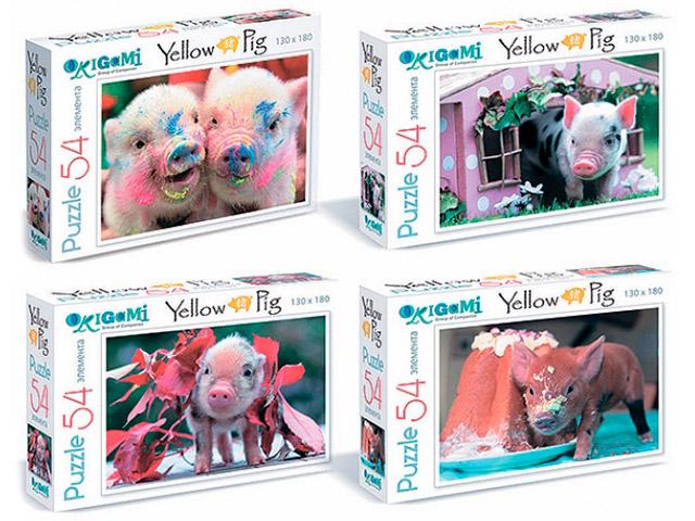"""Пазлы 54 элемента Оригами """"Yellow Pig"""" 130х180мм"""