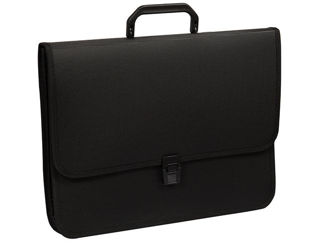 Портфель пластиковый А4 2 отделения Office Space 370х280х120мм, на замке, черный