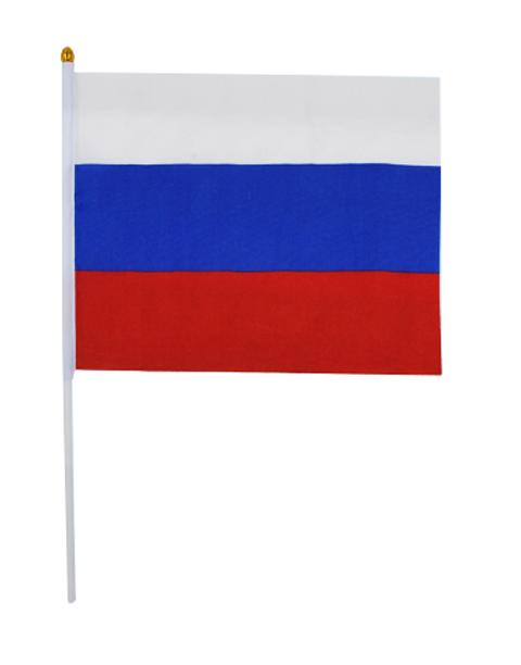 "Флаг России ""Триколор"" 16х24 см без герба, на пластиковой трубочке"