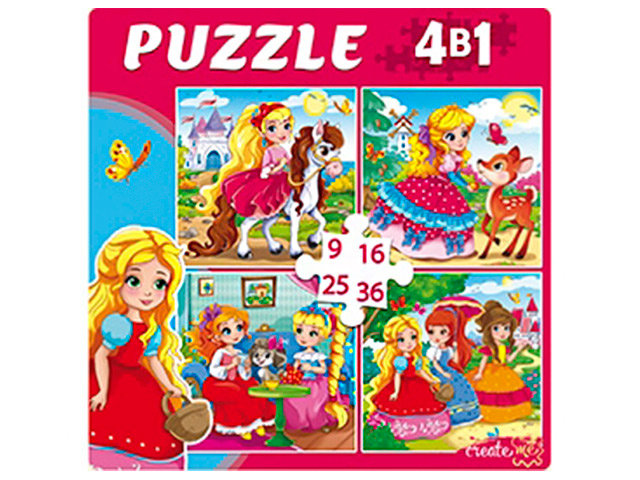 """Пазлы 4 в 1, 150х150 Рыжий кот """"Милые принцессы"""", 9, 16, 25, 36 элементов"""