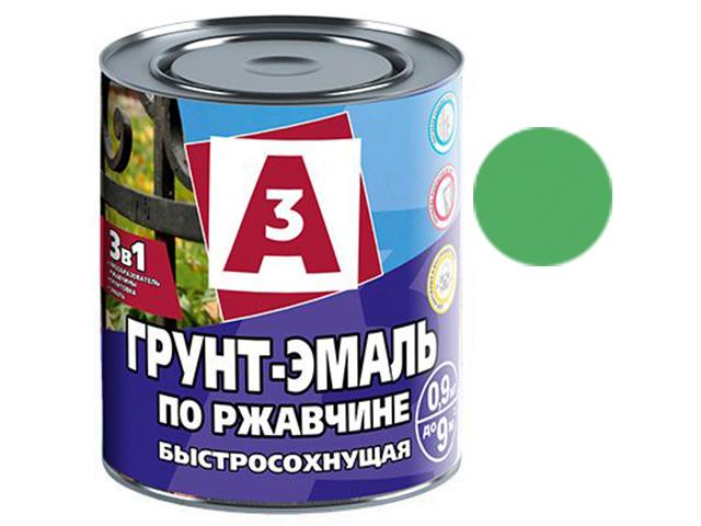 """Грунт-эмаль по ржавчине 3в1 """"А3"""" 0,9кг, зеленая"""