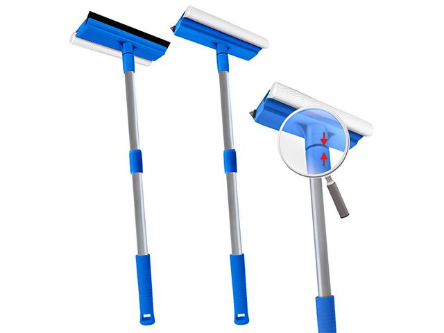 """Окномойка """"Мамонтенок чистюля"""" 25см. с телескоп. ручкой 120см, голубая"""