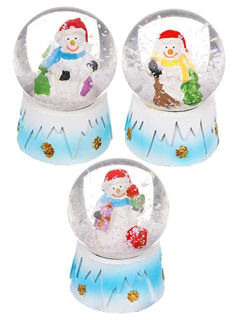Новогодний сувенир СНОУ БУМ Снежный шар (3 дизайна на голубом), 6,3 см.