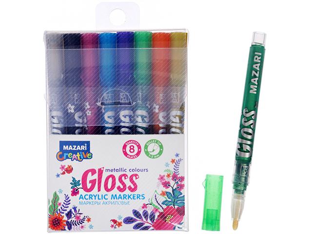 """Набор маркеров-красок """"Mazari Gloss"""" 8 цветов акрил. металлик"""