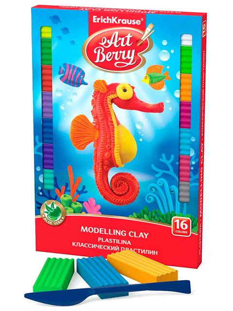 "Пластилин Erich Krause ""ArtBerry"" 16 цветов, со стеком, c алоэ вера, картонная коробка"