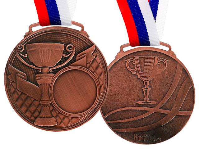 Медаль под нанесение 066 6,0 см, металлическая, на ленте, бронза