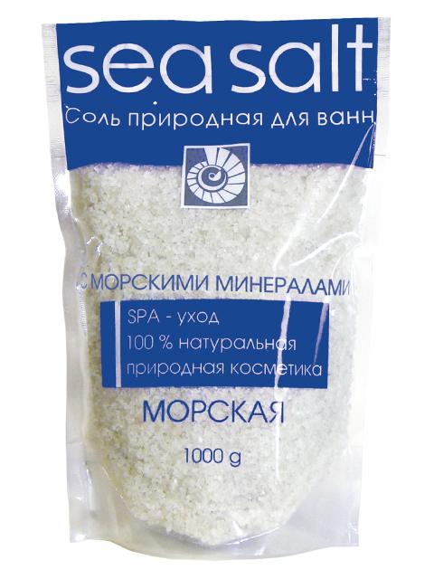 """Соль для ванн """"Sea Salt Морская"""" природная с морскими минералами, 1000г."""