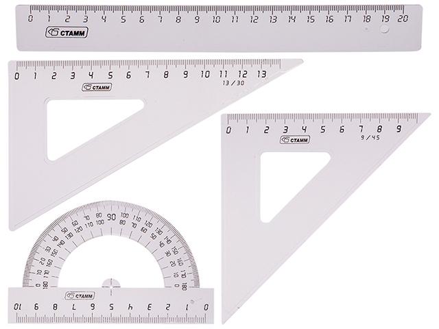 Набор чертежный СТАММ средний, прозрачный