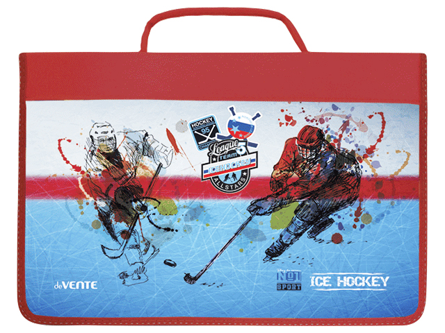 """Папка для труда А4 deVENTE """"Ice hockey"""" твердая, с ручкой, на молнии с трех сторон"""