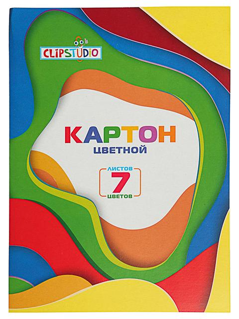 Картон цветной А4 7 листов 7 цветов ClipStudio немелованный
