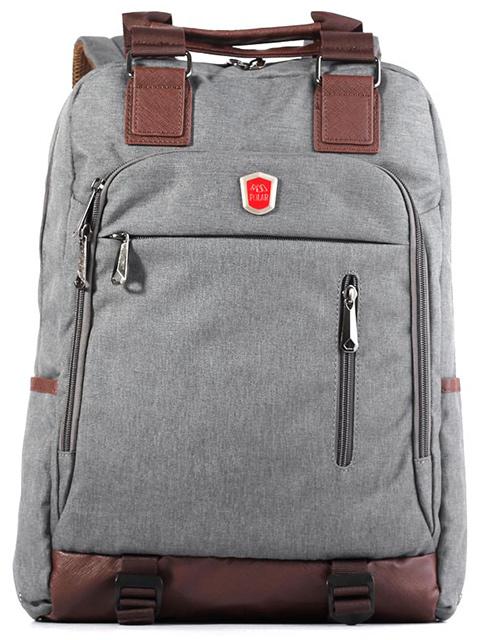 Рюкзак молодежный POLAR, 30 x 40 x 10 см, полиэстер, темно-серый с коричневой отделкой