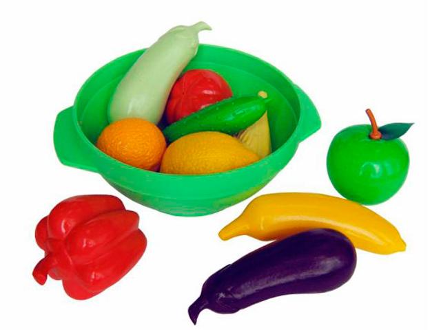 """Игровой набор """"Большое ассорти (овощи, фрукты, тарелка)"""" пластмасса"""