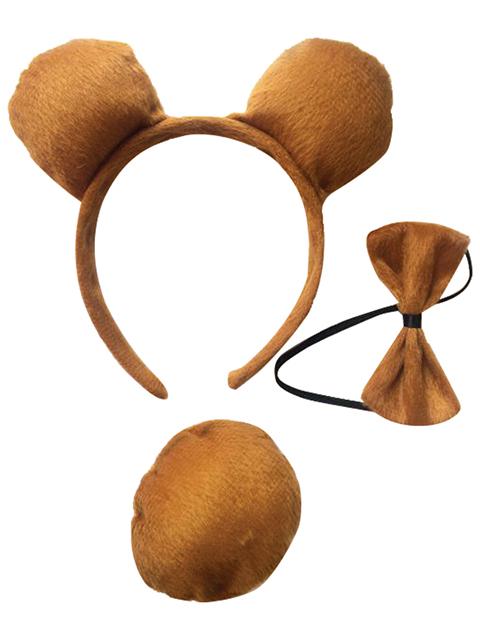 """Ободок карнавальный """"Медвежонок"""" (ободок-уши, хвост, галстук-бабочка), коричневый"""